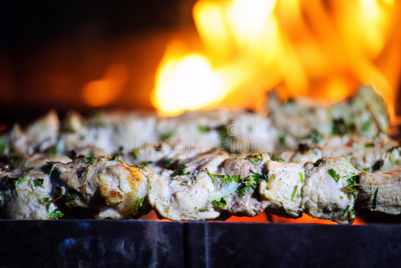 Barbecue. Background, d, barbeque, bbq, beef, burn, charcoal, chicken, coals, concept, cook, cooking, cookout, delicious, dinner, family, fire, food, garden stock photo
