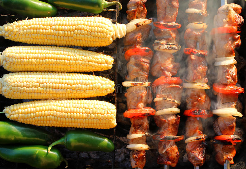 Barbecue. Roasted barbecue in the summer stock photos