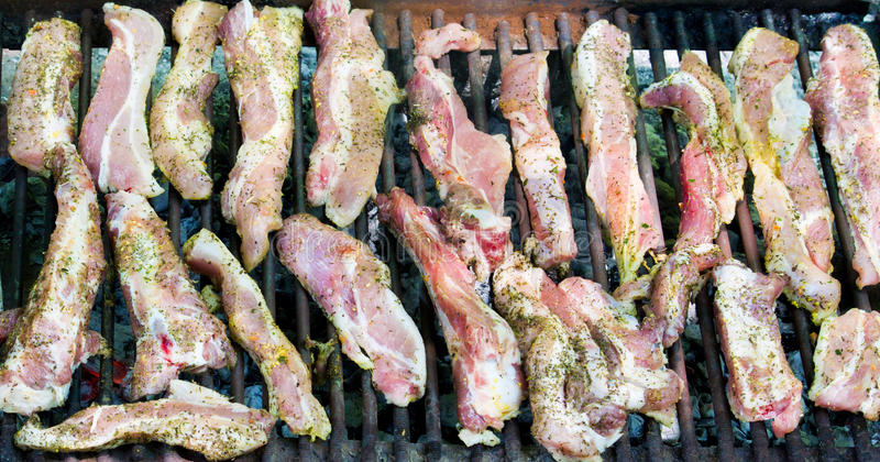 Barbecue. Spicy meat prepared for barbecue stock photo