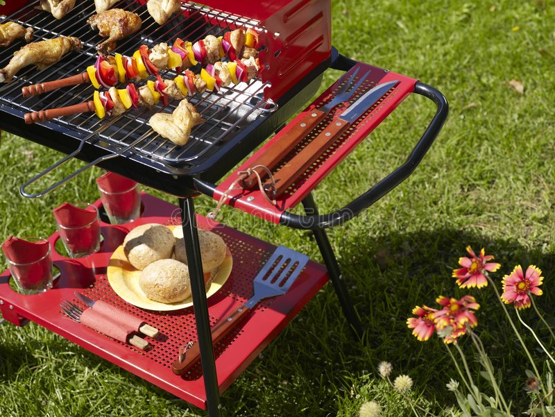 Barbecue. Picture of a barbecue in the garden royalty free stock photography