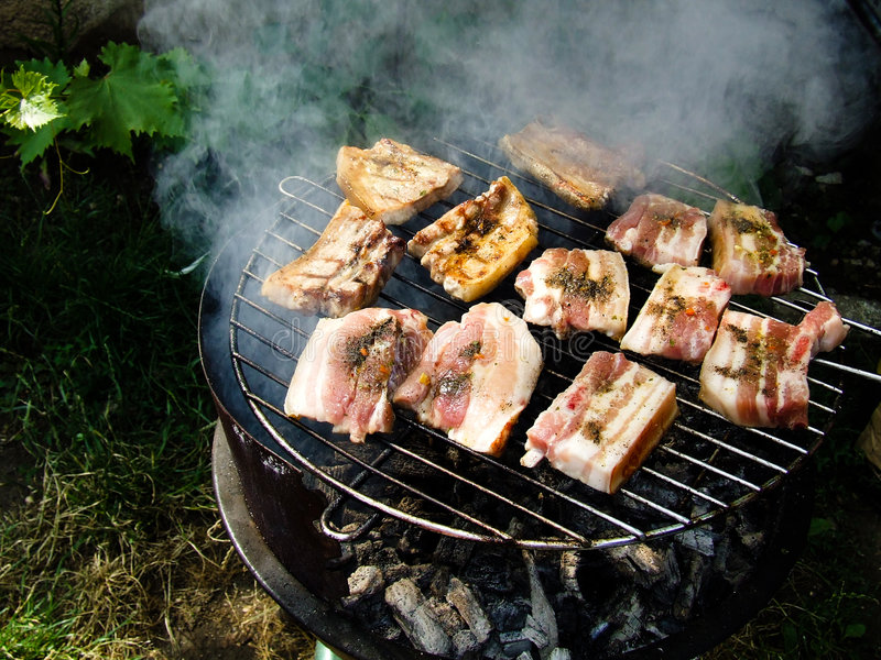 Barbecue. Home made barbecue with meat stock images