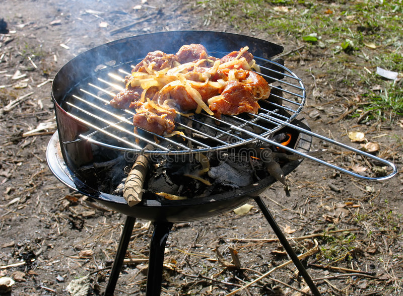 Barbecue. Picnic with barbecue royalty free stock photos