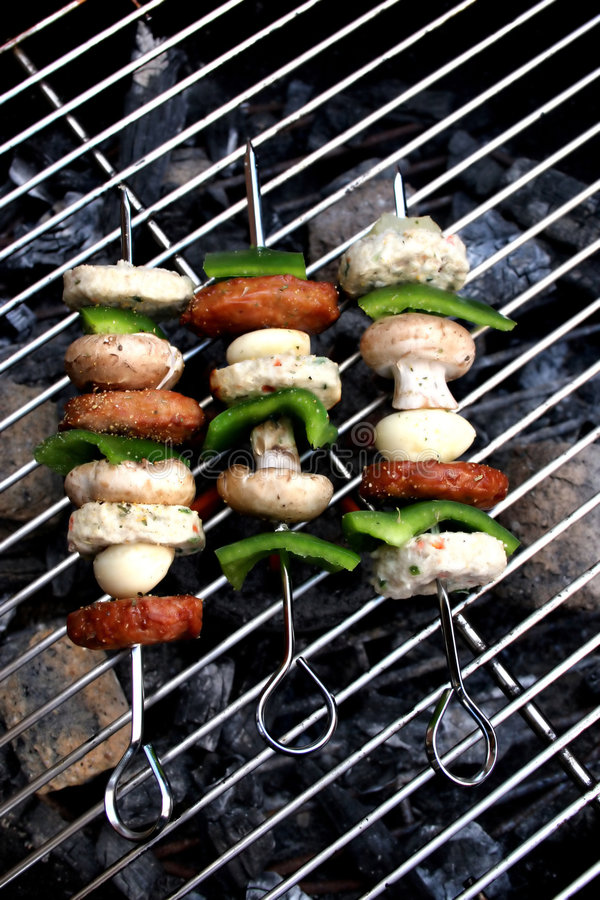 Barbecue. Kebabs on the barbecue stock images