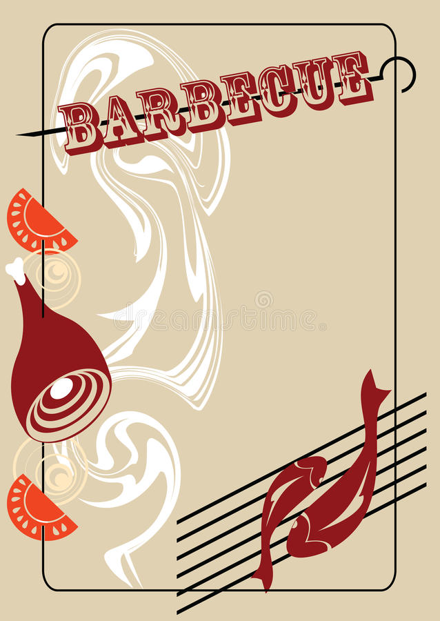 Barbecue. This is element of design of the menu for the dishes prepared on open fire royalty free illustration