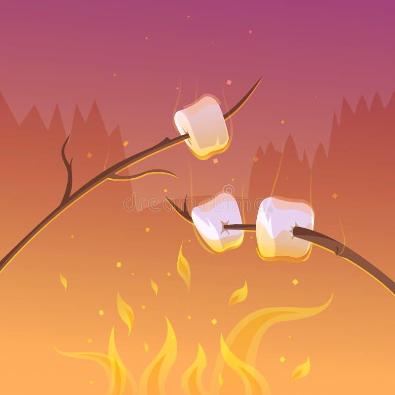 Barbecue al fondo di notte illustrazione di stock