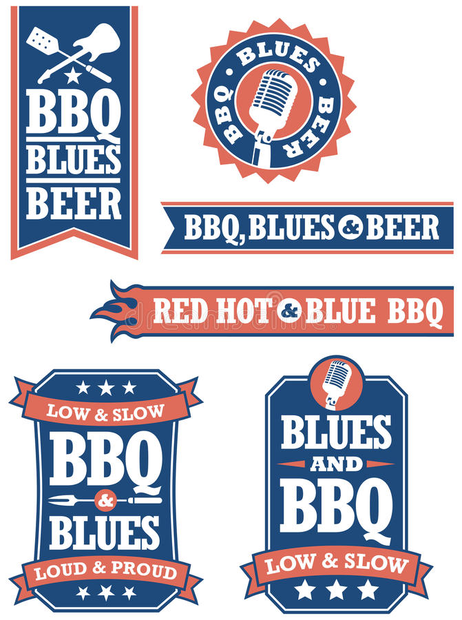 Free Barbecue And Blues Badges Royalty Free Stock Photos - 36516108