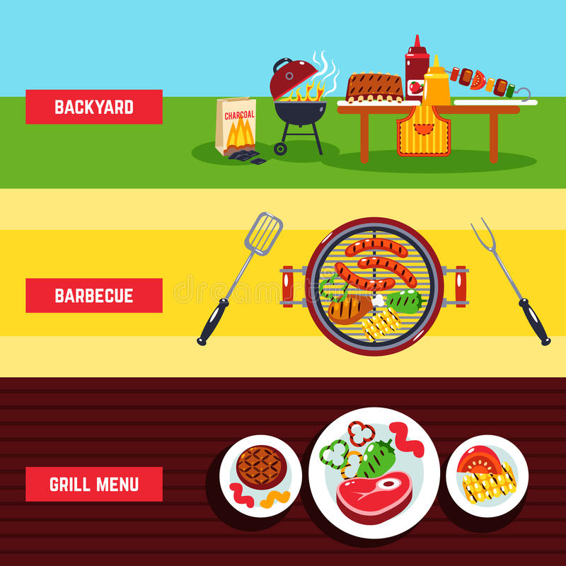 Download Barbecue Banner Set Stock Vector. Illustration Of Barbecue    54694159