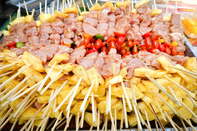Barbecue, Bar-B-Q or BBQ with kebab. Cooking stock photo