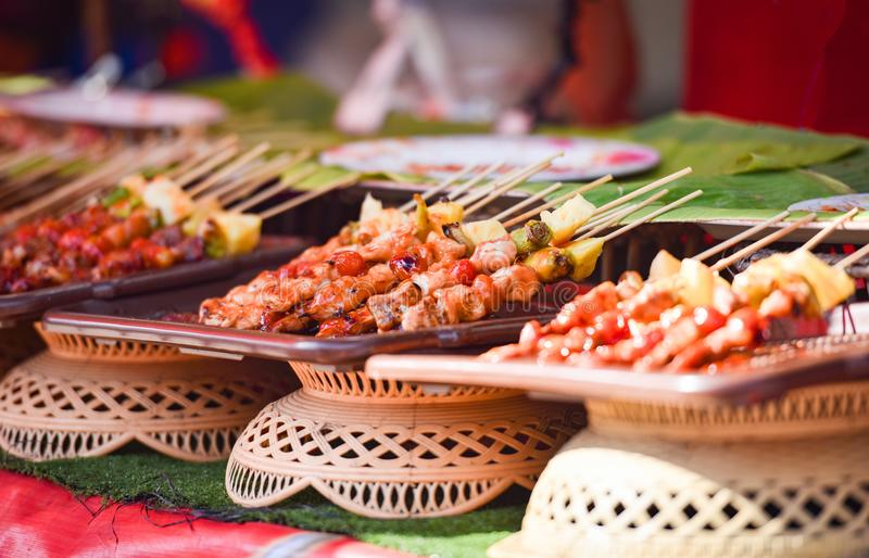 Barbecue. Juicy shish kebab on the grill stock images