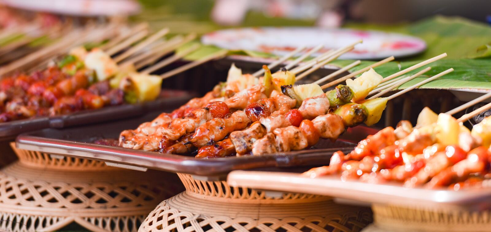 Barbecue. Juicy shish kebab on the grill stock photos