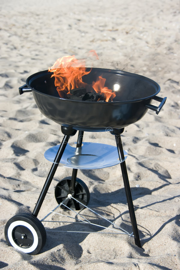 Barbecue on beach royalty free stock photography