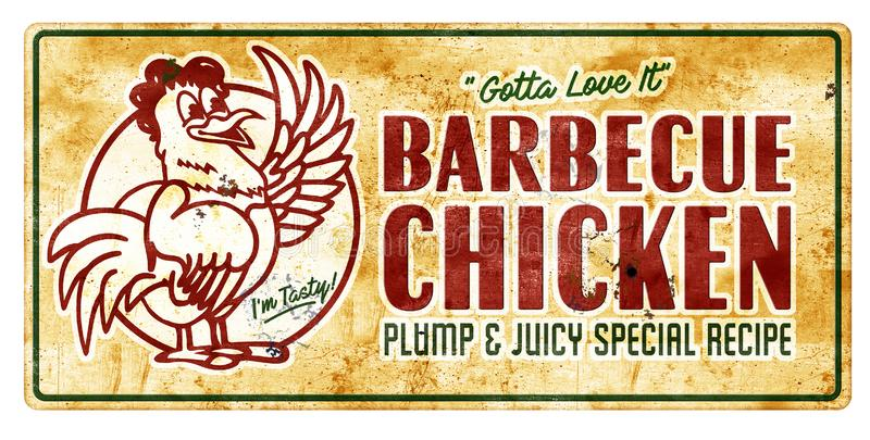 Barbecue chicken sign vintage. Vintage BBQ chicken Sign barbecue old rustic retro plump and juicy with cartoon chicken image stock photo