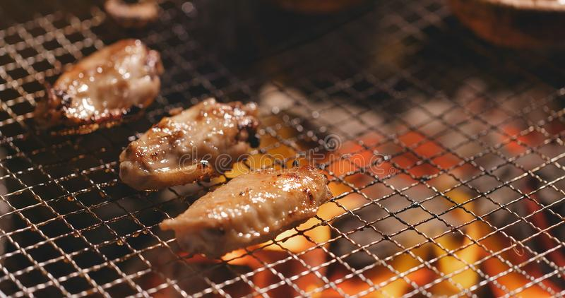 Barbecue with chicken wing, mushroom and capelin fish on grilled. Net outdoors royalty free stock image