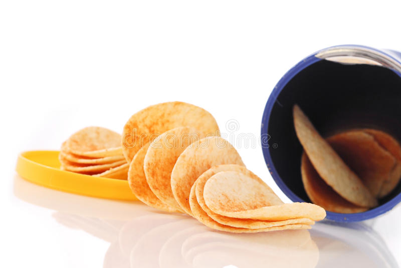 Barbecue Chips. Barbecue flavored potato chips with container stock image