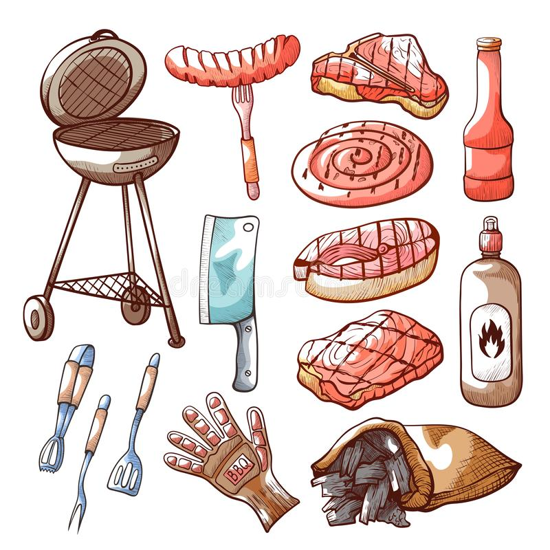 Barbecue and cooking on grill tool set stock illustration