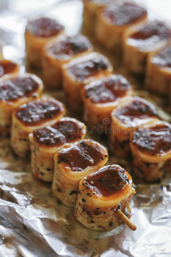 Barbecue. Cooking recipe. Delicious barbecue cooking method royalty free stock photography