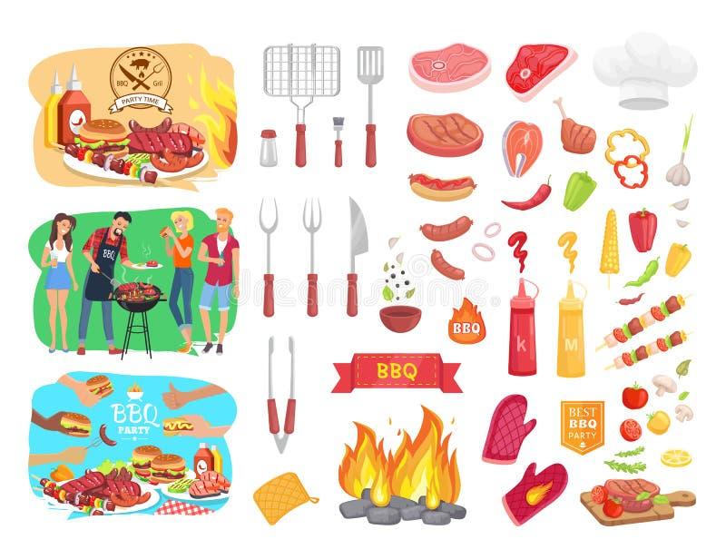 Barbecue del partito del BBQ ed illustrazione di vettore della gente illustrazione vettoriale