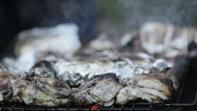 Barbecue del pesce e del pollo video d archivio