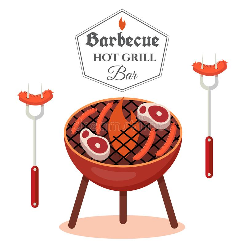 Barbecue design concept. BBQ grill template. Cartoon illustration isolated on white background. Vector illustration vector illustration
