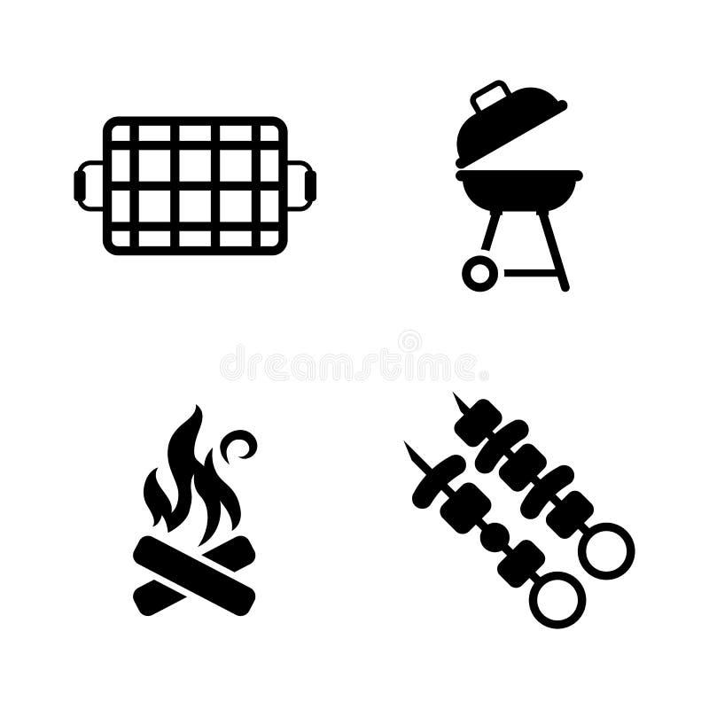Barbecue Eenvoudige Verwante Vectorpictogrammen royalty-vrije illustratie