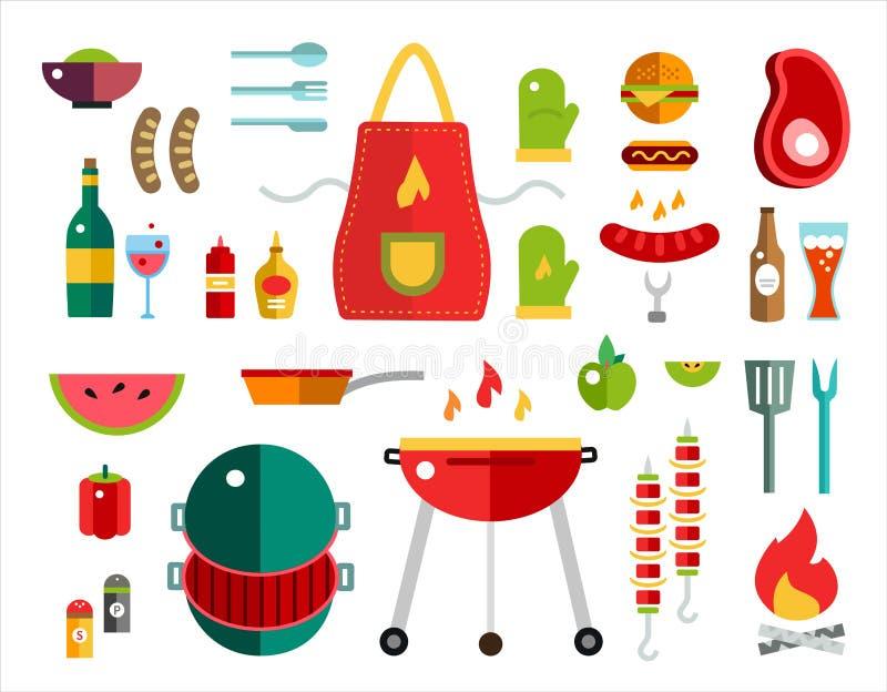 Barbecue en Voedsel geplaatste Pictogrammen Vectorvoorwerpen stock illustratie