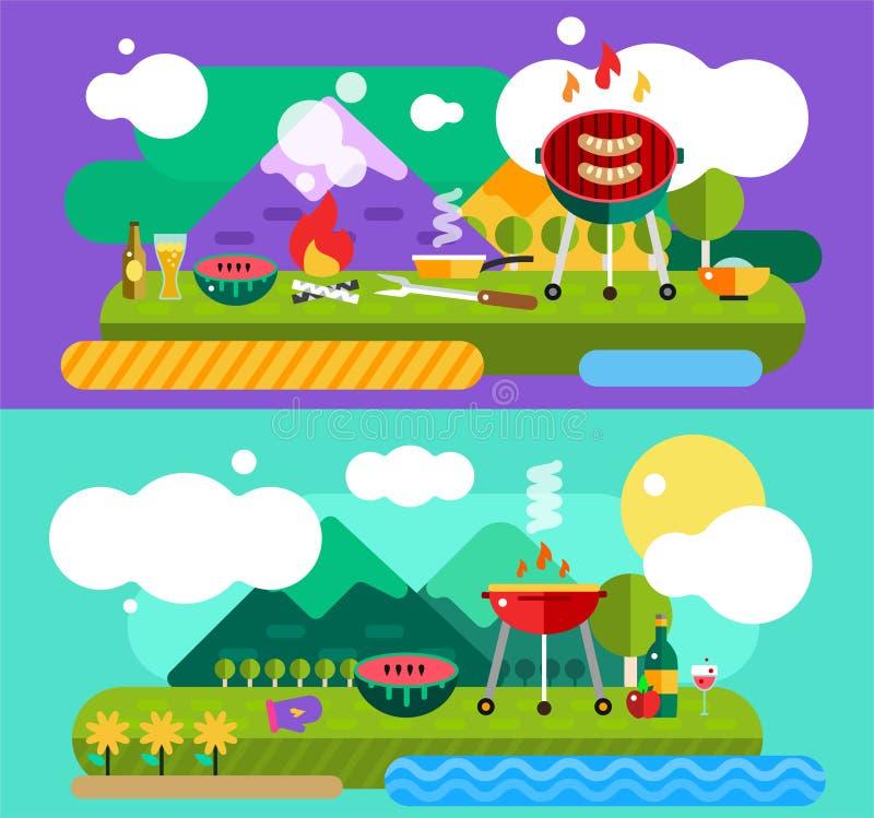 Barbecue en Voedsel Openlucht Vector geplaatste Voorwerpen vector illustratie