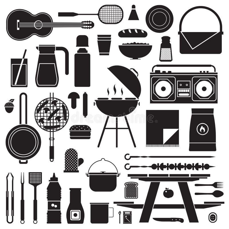Barbecue et ensemble de pique-nique illustration de vecteur