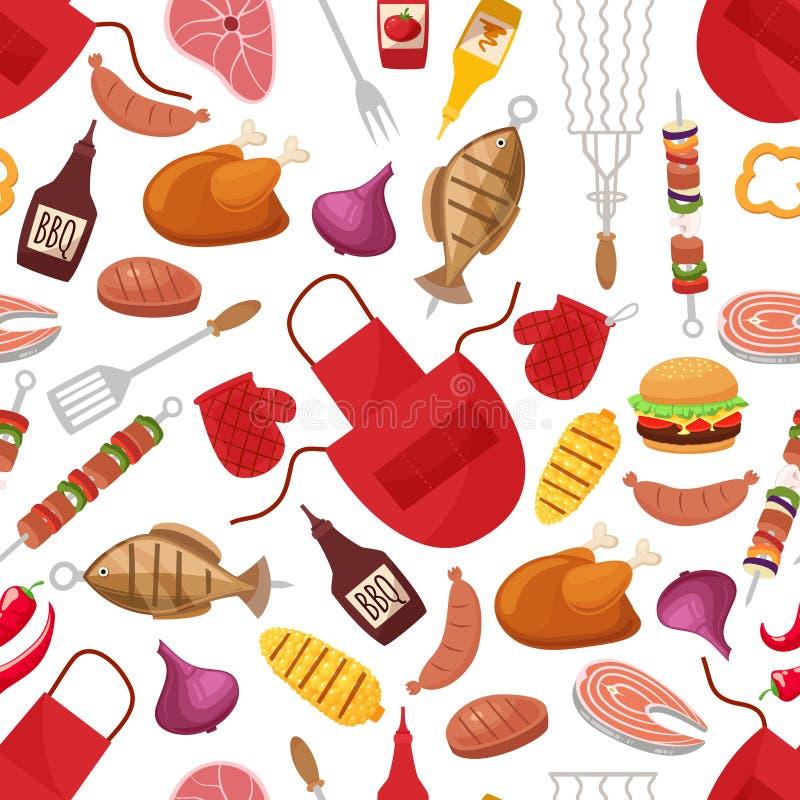 Barbecue et gril pour le modèle à la maison de fond de partie ou de restaurant illustration libre de droits