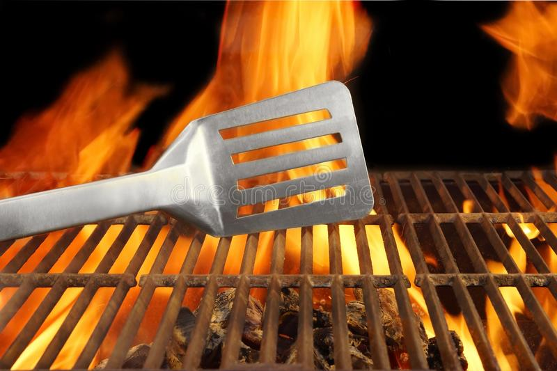 Barbecue Fire Flame Hot Grill Spatula, XXXL. Barbecue Grill Fire Flame Hot Spatula, with space for text or image royalty free stock photos