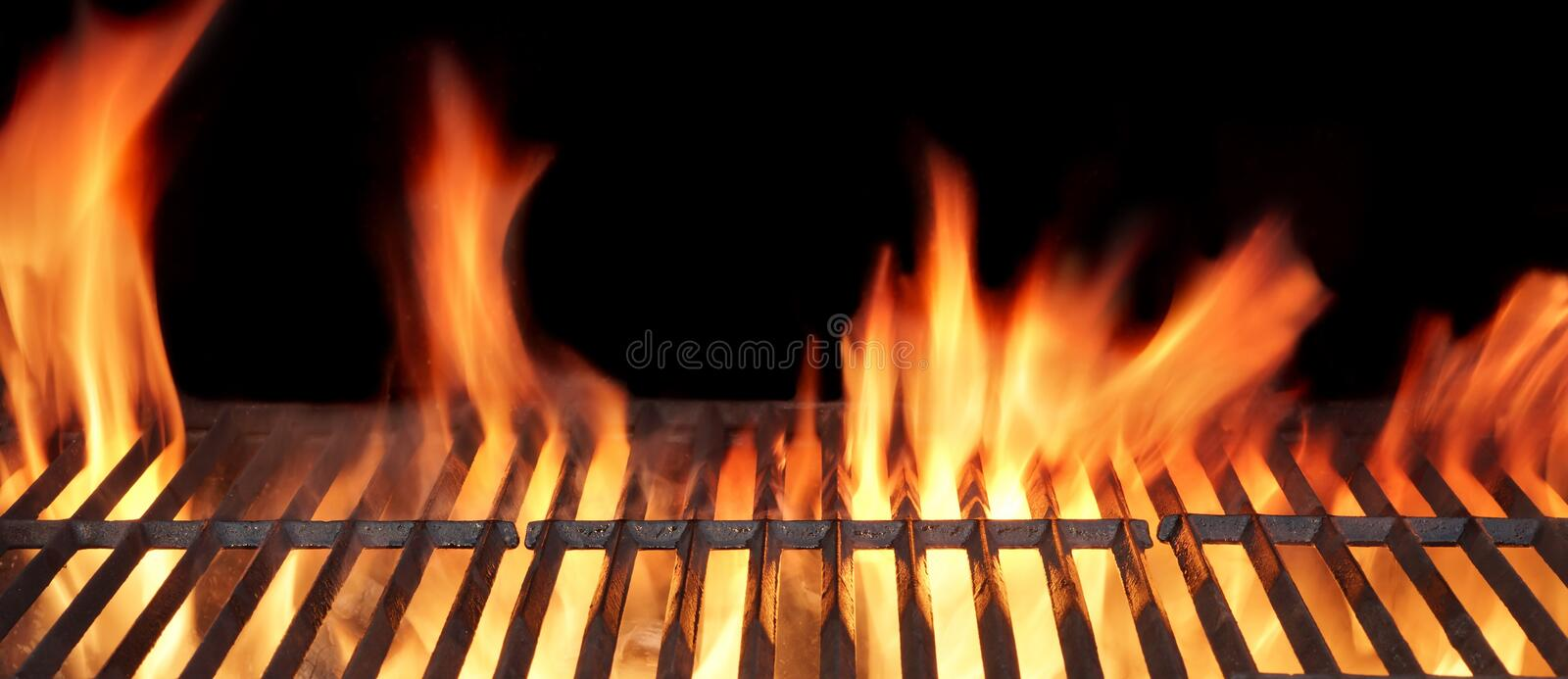 Barbecue Fire Grill. Close-up, on Black Background stock images