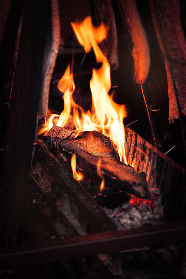 Barbecue fire grill with cooking salmon fish. Outdoor, selective focus royalty free stock images