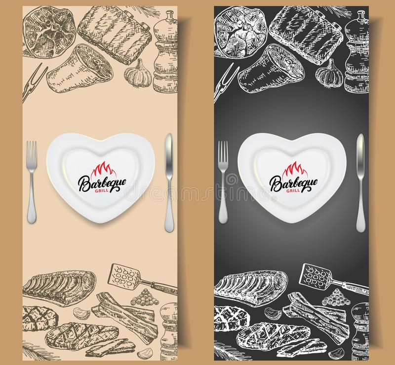 Barbecue flyer vector design templates royalty free illustration