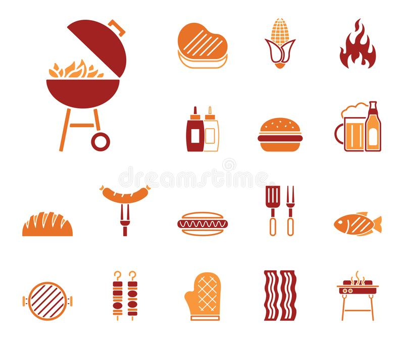Barbecue & Food - Iconset - Icons. Editable Vector Icons royalty free illustration