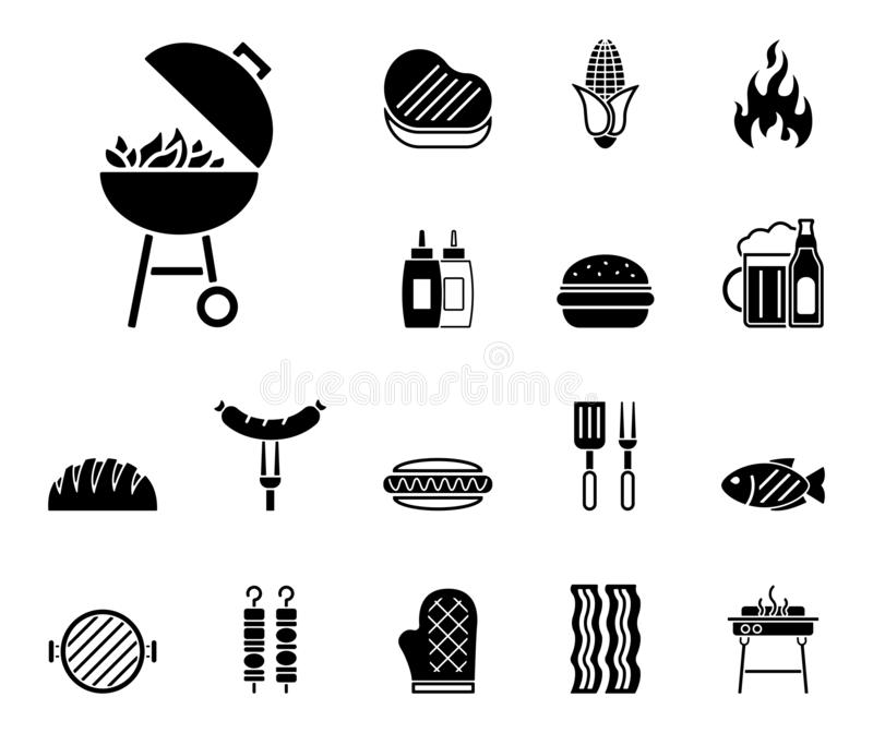 Barbecue & Food - Iconset - Icons. Editable Vector Icons stock illustration