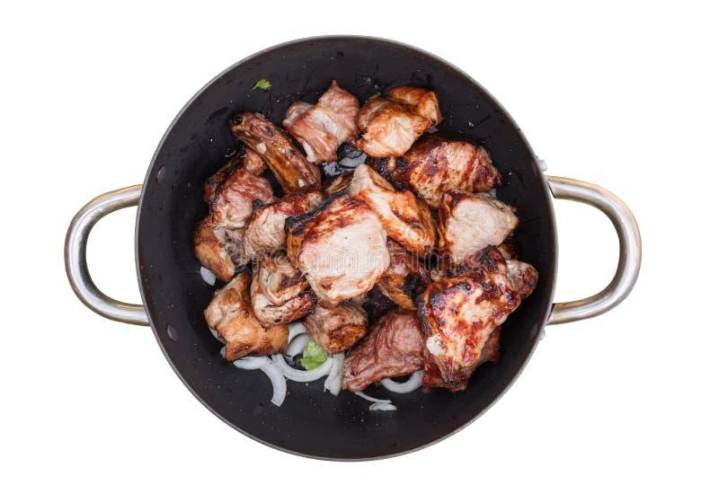 Barbecue fresco con le cipolle nel vaso fotografia stock