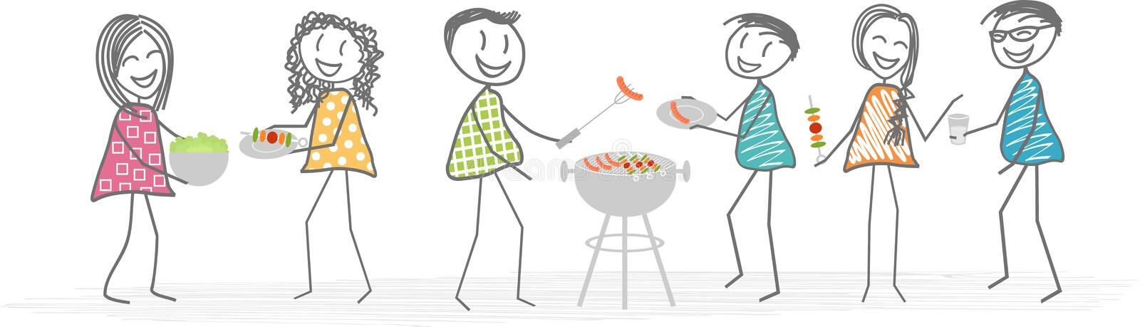 Barbecue with friends or neighbors. A group of friends or neighbors is gathered around a barbecue in a garden for a nice meal vector illustration