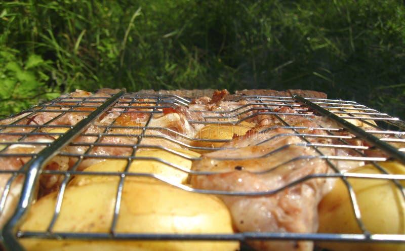 Barbecue frit sur le feu et les charbons images libres de droits