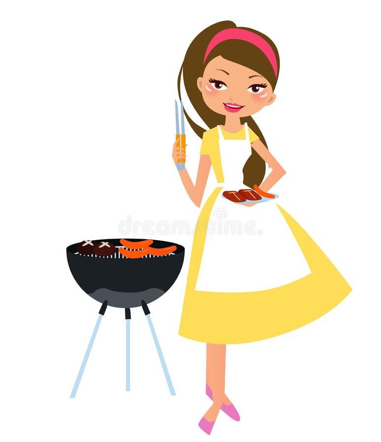 Barbecue girl stock illustration