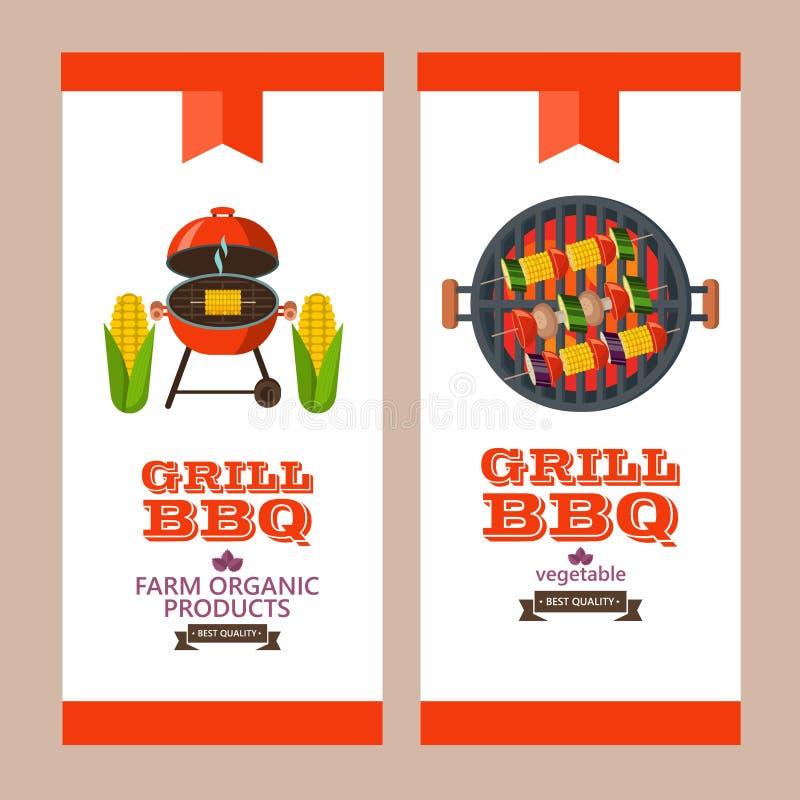 Barbecue, griglia Emblema, logo Illustrazione variopinta di vettore nella f illustrazione vettoriale