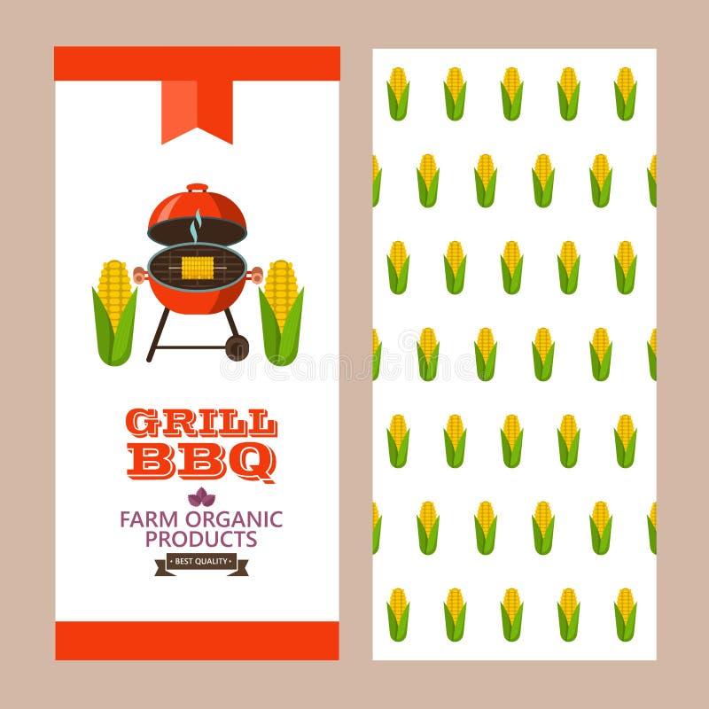 Barbecue, griglia Emblema, logo Illustrazione variopinta di vettore nella f illustrazione di stock