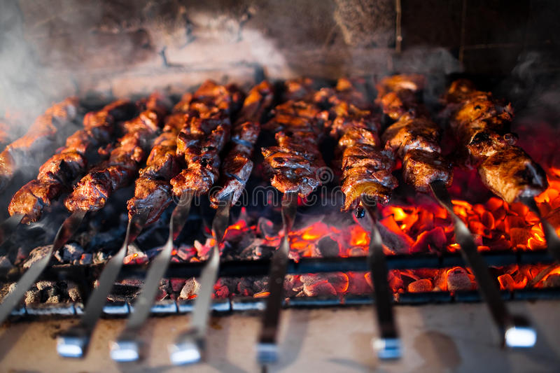 Barbecue grill. With charcoal closeup stock photo