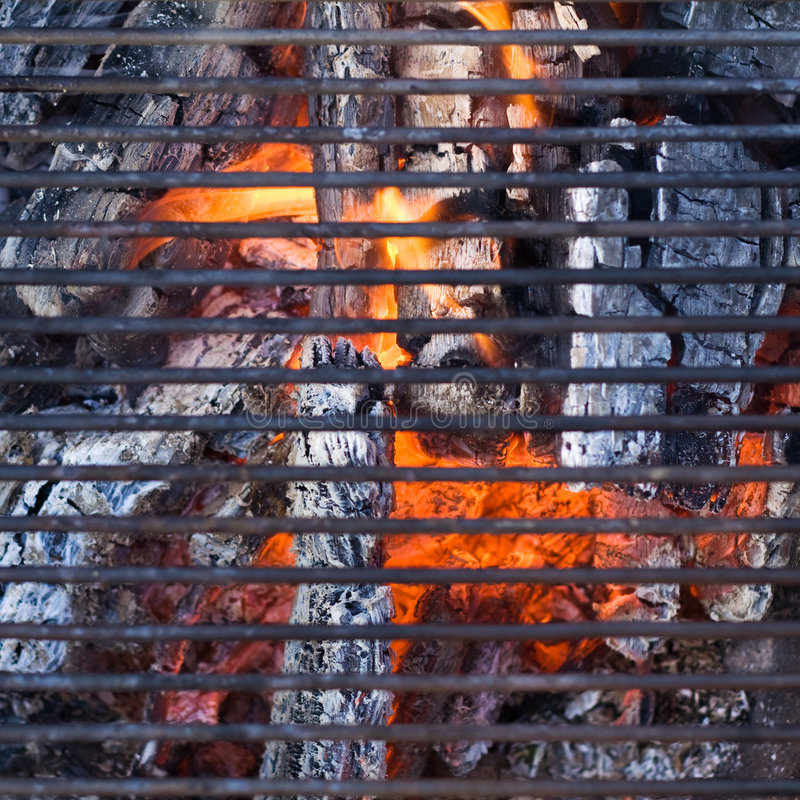 Barbecue grill. Over charcoal - ready to cook royalty free stock image