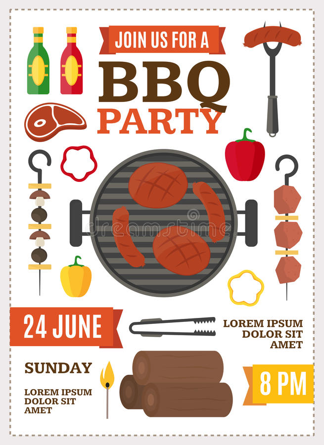 Barbecue and Grill Banner Card. Vector. Barbecue and Grill Banner Card for Home Party or Restaurant. Products and Kitchen Tools Flat Design Style Vector stock illustration