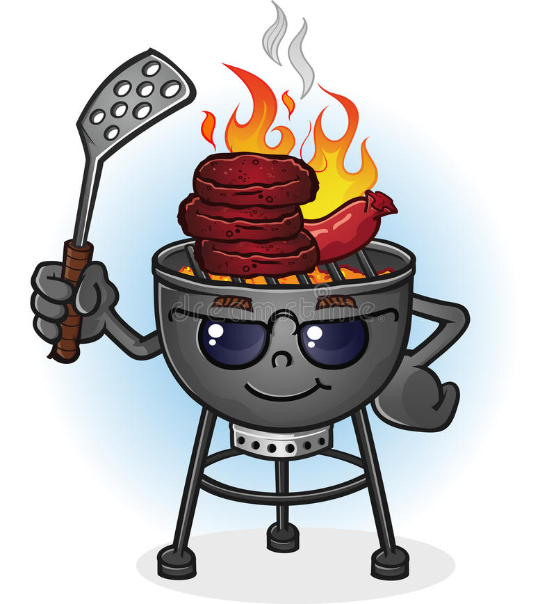 Barbecue Grill Cartoon Character with Attitude. A hot barbecue grill cartoon character with sunglasses and a spatula, grilling burgers and and hotdogs over an vector illustration