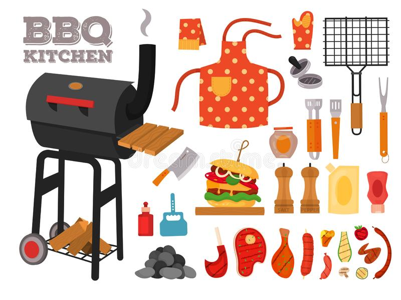 Barbecue grill cartoon elements set. Cookout BBQ icons, party BBQ objects. Set with tools, cutlery, street food. Barbecue grill kitchen vector elements for vector illustration