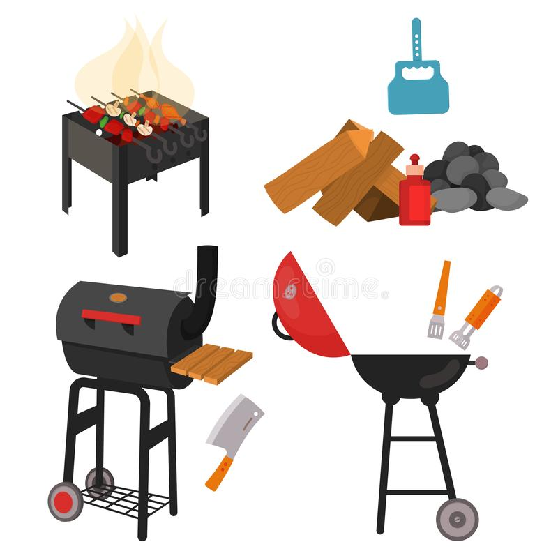 Barbecue grill cartoon elements set. On white background. Cookout BBQ party icons. Set of barbecue charcoal kettle grill with tools, street food. BBQ tools set vector illustration