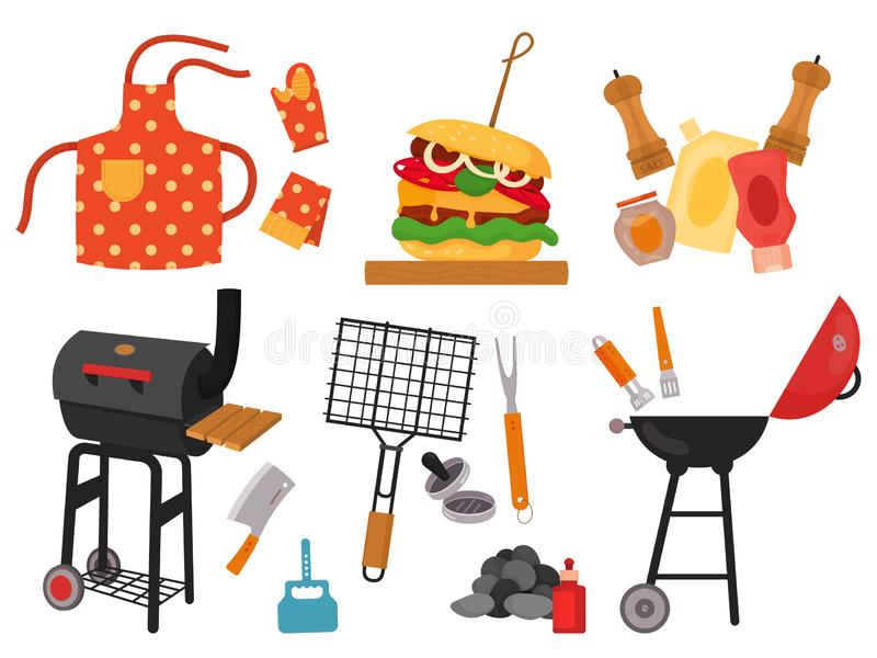 Barbecue grill cartoon elements set. On white background. Cookout BBQ party icons. Set of barbecue tools, street food for party invitation design. Barbecue royalty free illustration