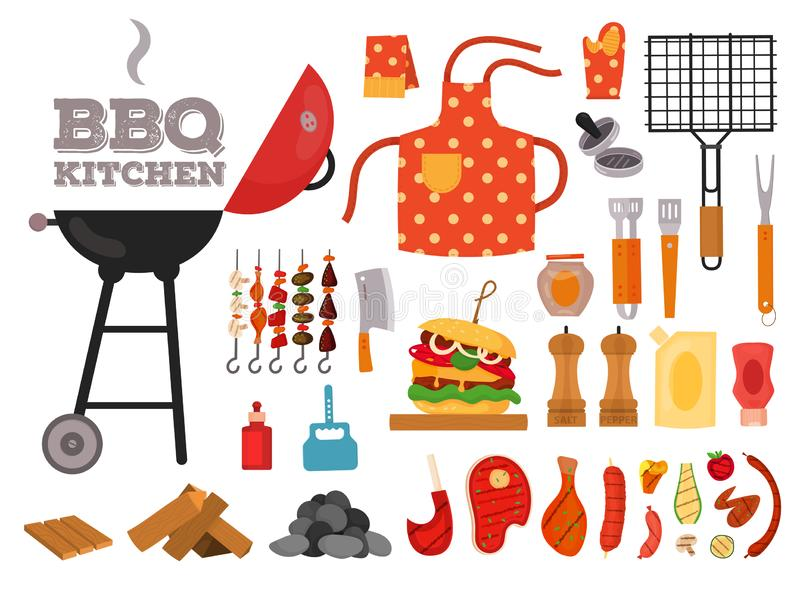 Barbecue grill cartoon elements set. On white background. Cookout BBQ party icons. Set of barbecue charcoal kettle grill with tools, street food. BBQ tools set royalty free illustration