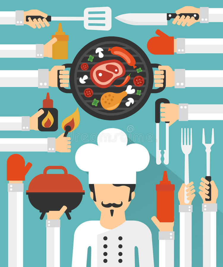 Barbecue and Grill cook concept design flat set. Barbecue and Grill cook concept vector design flat set.Vector illustration royalty free illustration
