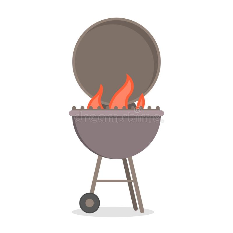 Barbecue grill for cooking delicious meat. BBQ party. With hot tasty food. Beef or pork. Isolated flat vector illustration vector illustration